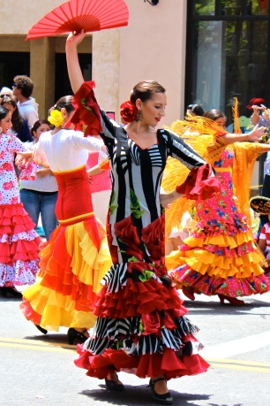 Flamenco dancer in the Fiesta parade.